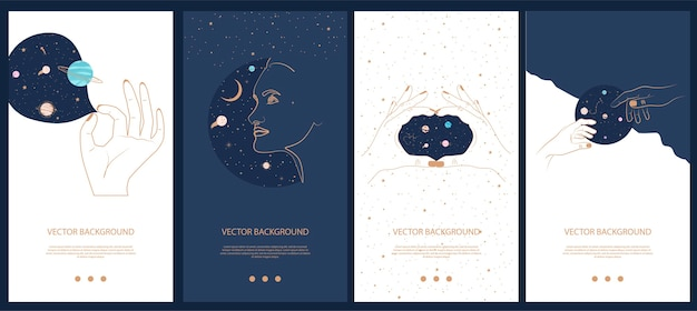Collection of space and mysterious illustrations for stories templates, mobile app, landing page