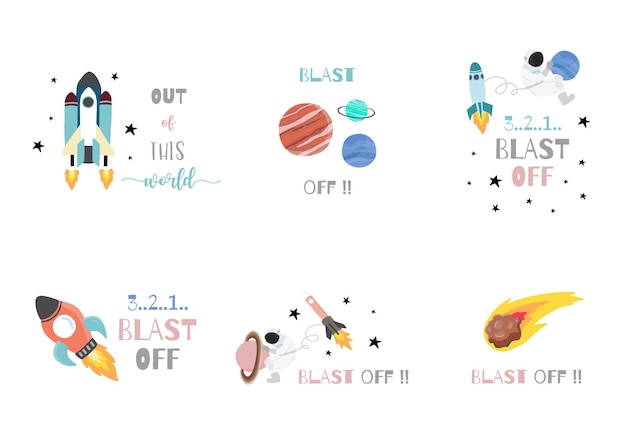 Collection of space object set with astronaut, sun, moon, star,rocket.editable vector illustration for website, invitation ,postcard and sticker