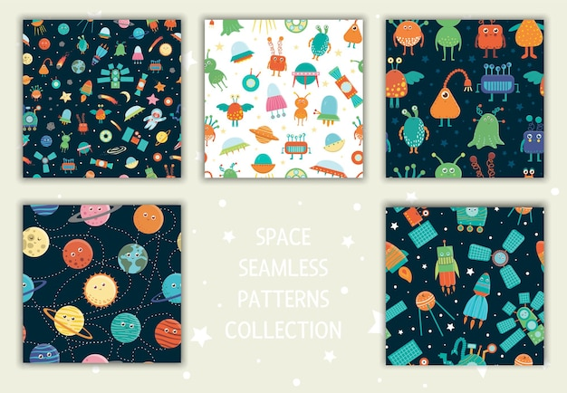Collection of space seamless patterns