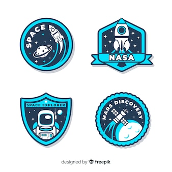 Collection of space stickers with different shapes