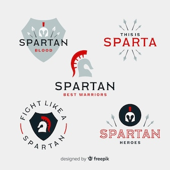 Collection of spartan badges Free Vector
