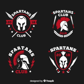 Collection of spartan labels Premium Vector