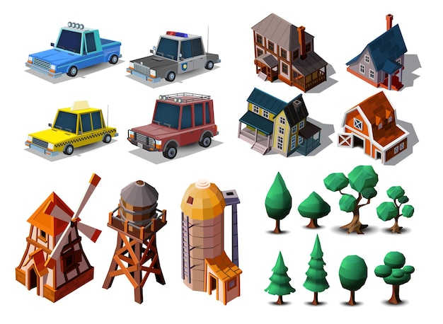 Collection of special farm buildings, houses in european style, cartoon cars,trees set