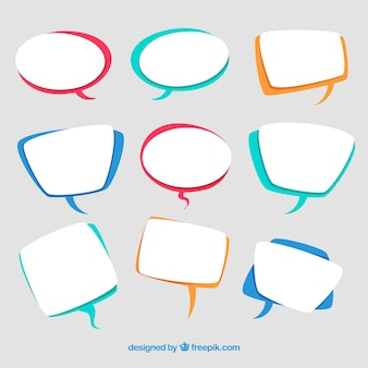 Collection of speech bubble in flat design