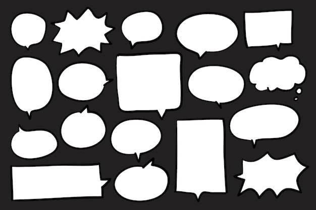 Collection of speech bubbles on black background vector