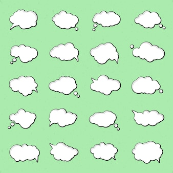 Collection of speech bubbles in pop art style. elements of design comic books. set of thought or communication bubbles.