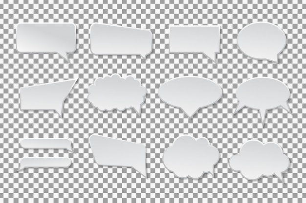 Collection of  speech bubbles on the transparent background.
