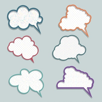 Collection of speech bubbles with polka dot designs