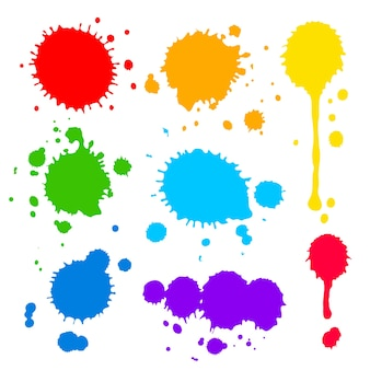 Collection of splats splashes and blobs