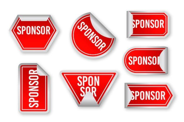 Raccolta di adesivi che promuovono sponsor