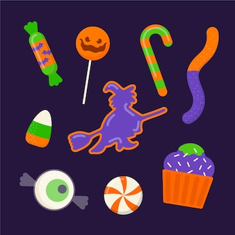 Collection of spooky halloween candies