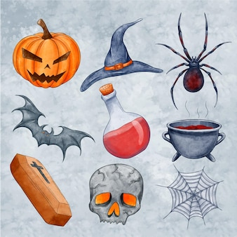 Collection of spooky halloween elements