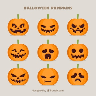 Collection of spooky pumpkins for halloween