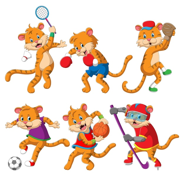 The collection of the sporty tiger playing the different sport of illustration