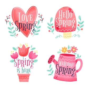 Collection of spring badges in watercolor