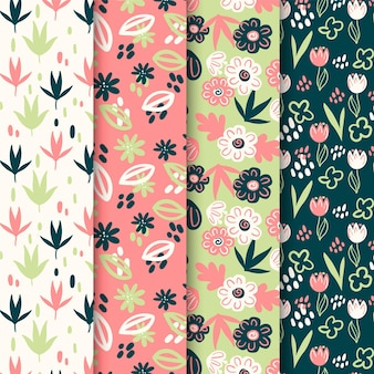 Collection of spring flowers and leaves pattern