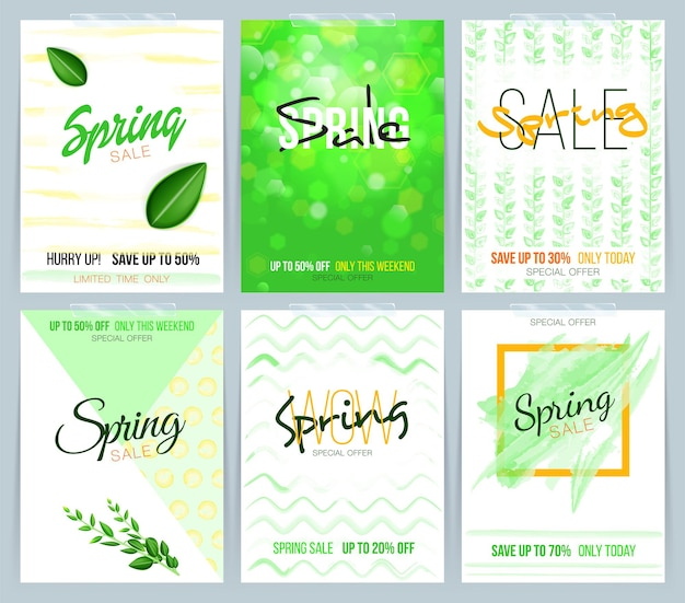 Collection of spring sale card sale and other flyer templates with green leaf