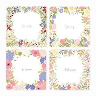 Collection of square card templates with various season names and frames made of beautiful wild blooming flowers, flowering plants, leaves, berries. colorful seasonal vector illustration