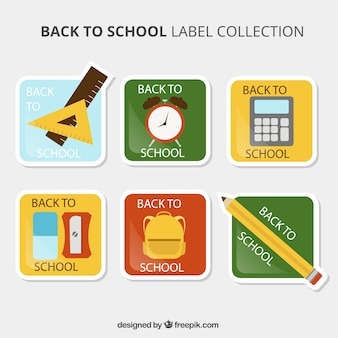 Collection of square stickers for back to school