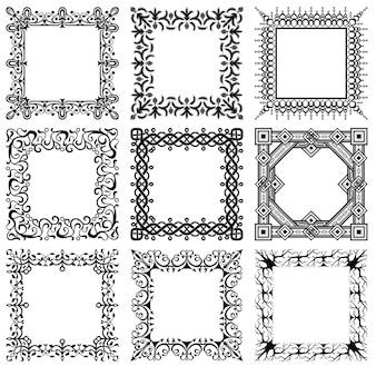 Raccolta di cornici d'epoca quadrati vettore