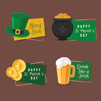 Collection of st. patrick's day badge flat detailed