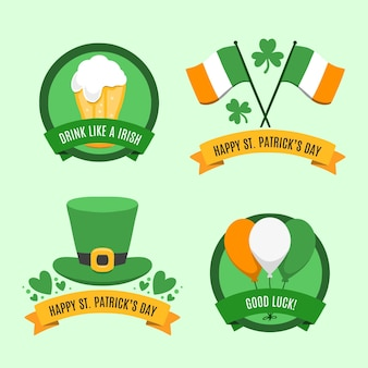 Collection of st. patrick's day badge hand drawn