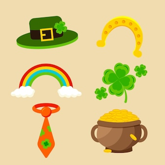 Collection of st. patrick's day flat design elements