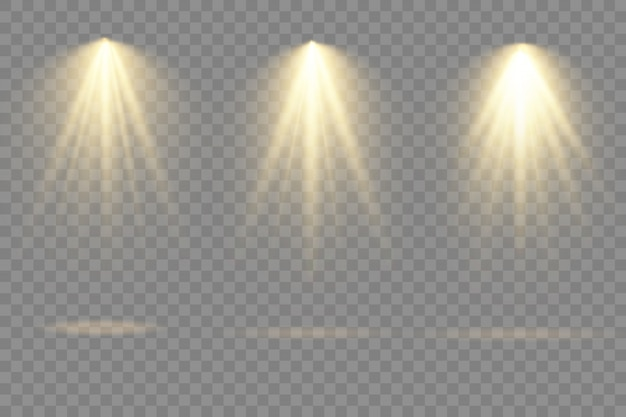 Collection of stage light spotlights, projector light effects, spotlight isolated on transparent background,.