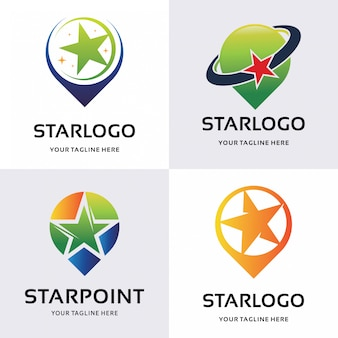 Collection of star point logo designs template