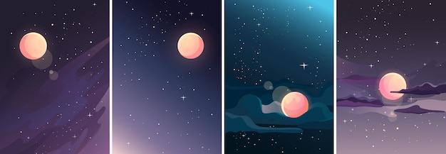 Collection of starry landscapes. space sceneries in vertical orientation.