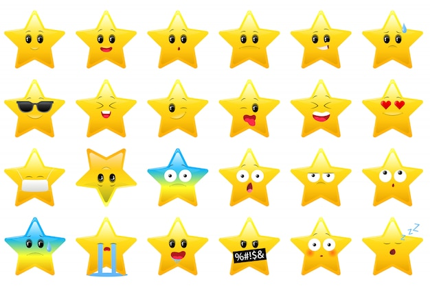 Collection of stars icon for children, stickers