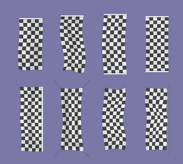 Collection of starting, finishing, and checkered sports flag.