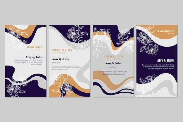 Collection of stationery wedding invitations