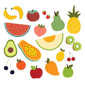 Collection sticker of cartoon fruits