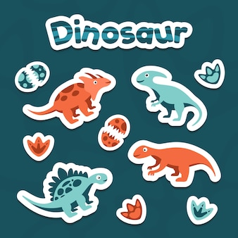 Collection of sticker clipart cute dinosaur vector
