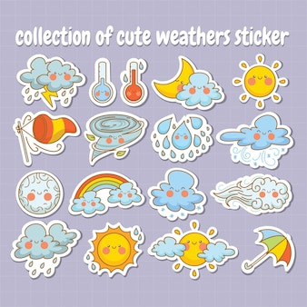 Collection sticker of cute weather cartoon character