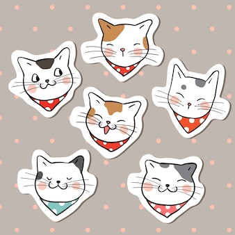 Collection sticker head of funny cat