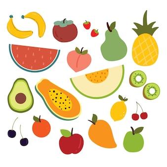Коллекция стикеров мультяшных фруктов