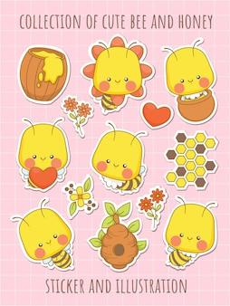 귀여운 꿀벌과 꿀 만화 캐릭터의 컬렉션 스티커