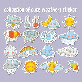 Коллекция наклеек милого погодного мультипликационного персонажа
