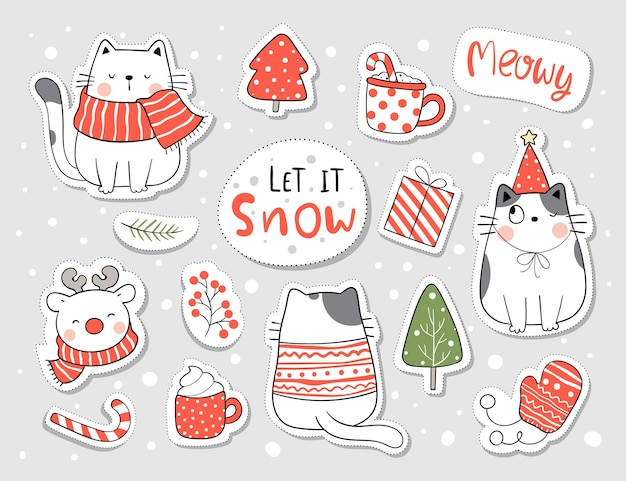 Collection stickers cat for christmas and new year.