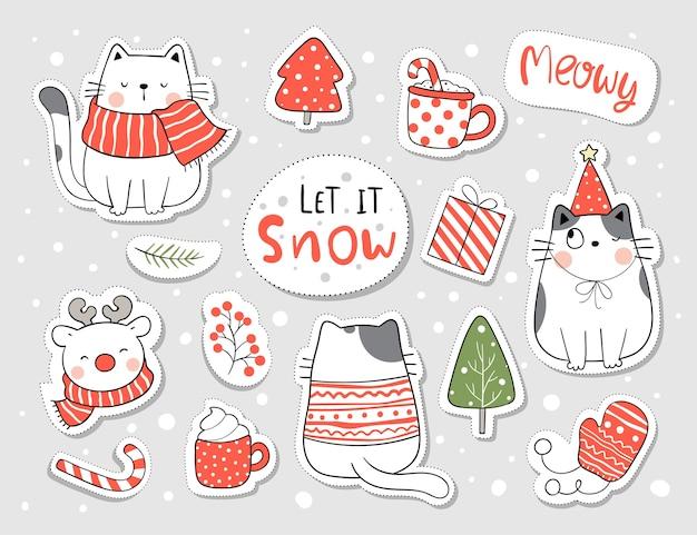 Коллекция наклеек кошка на рождество и новый год.