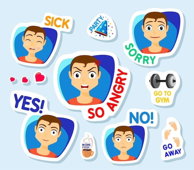 Collection of stickers for chat or sms stickers with man men with different facial expressions