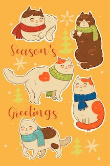 Collection of stickers of christmas cats in scarves.