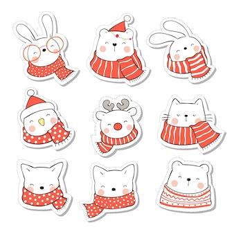 Коллекция наклеек милое животное на рождество и новый год.