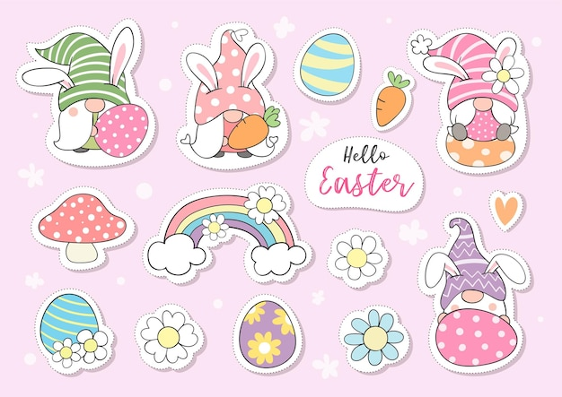 Collection stickers gnome for easter
