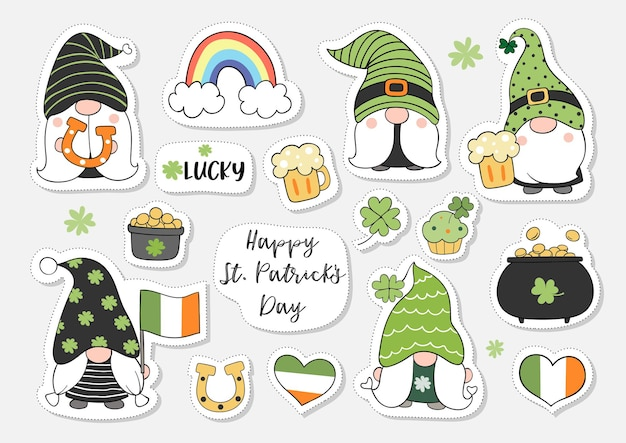 Collection stickers gnome for st patrick day