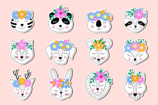 Collection of  stickers of hand drawn animals on pink background.