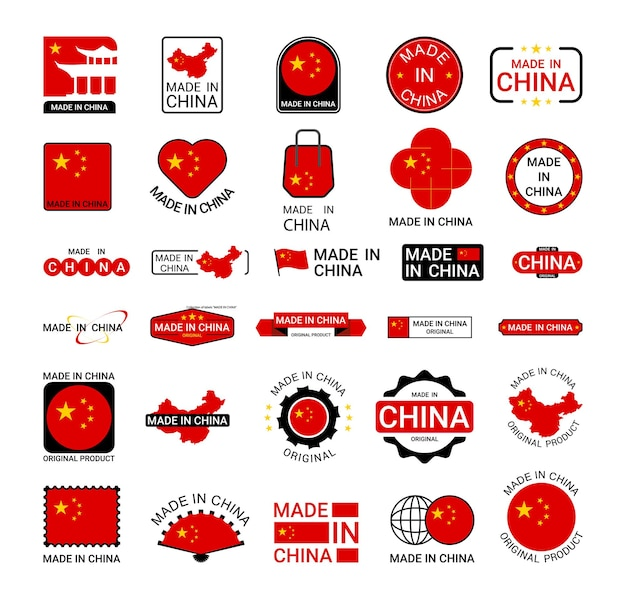 Collection of stickers of made in china