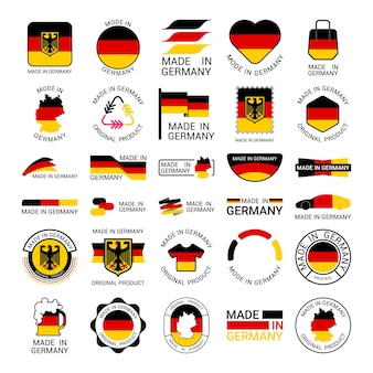 Collection of stickers of made in germany
